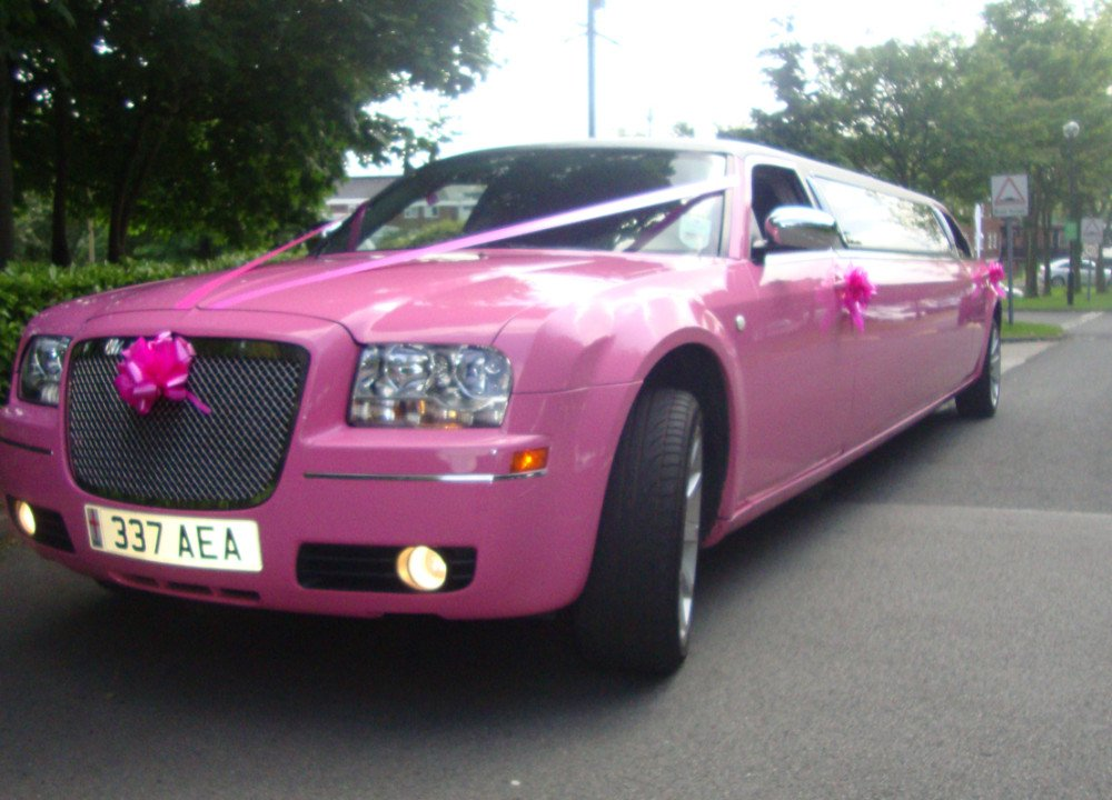 pink wedding limo
