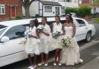 Bridesmaids next to Limo